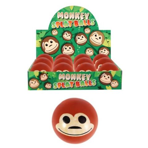 Monkey Splat Ball - Squidgy Throwing Toy Brown